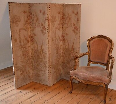 French Antique Dressing / Boudoir Screen, Four Panel, 19th Century