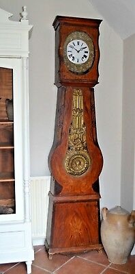 French Antique Longcase Grandfather Morbier Comtoise Clock Complete 1800's