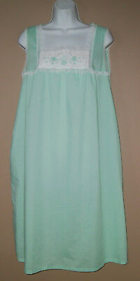 Womens Vintage Size Large Sleeveless Lace Trim Green House Coat Night Gown Dress