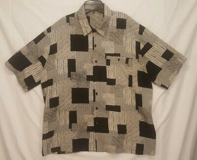 VTG Mens Button Up Shirt Alan Stuart Rockabilly Geometric Swanky Sz XL USA Made