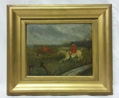 19thc Victorian 'Fox Hunting' Oil on Panel Painting Circa 1890 (1 of 2)