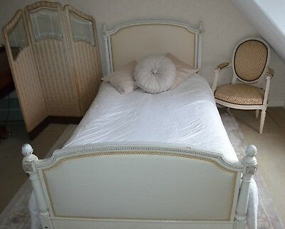 PAIR of French Vintage Upholstered Single Beds Louis XVI style in white & cream