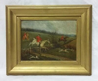 19thc Victorian 'Fox Hunting' Oil on Panel Painting Circa 1890 (2 of 2)