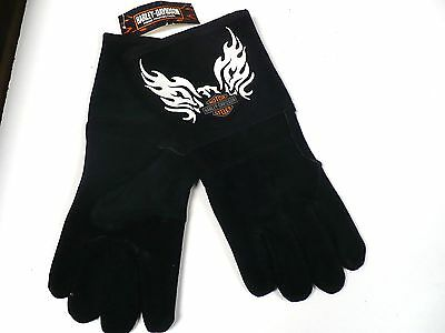 New HARLEY DAVIDSON Flaming Eagle WELDING GLOVES- Size L- Free Shipping