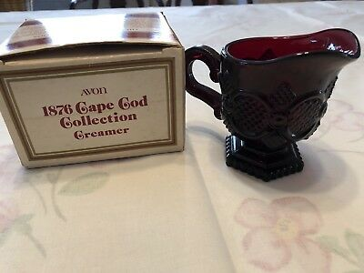 New In Box Avon Cape Cod Ruby Red Glass Creamer Vintage Collection 1876