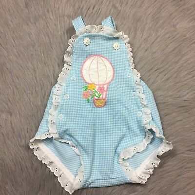 Vintage Baby Girls Carters Blue Gingham Ruffle Lace Trim Balloon Sunsuit Romper