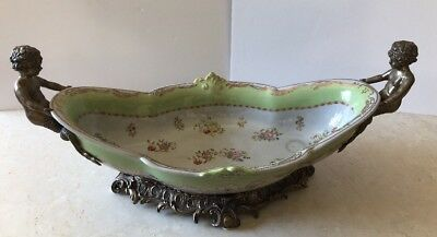 Ceramic Green With Floral Design Oval Fruit Bowl Brass Bronze Handles & Base