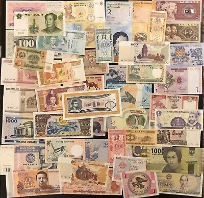 25 (Twenty Five) Different World Banknotes Set, UNC Mixed Currency, World Lot