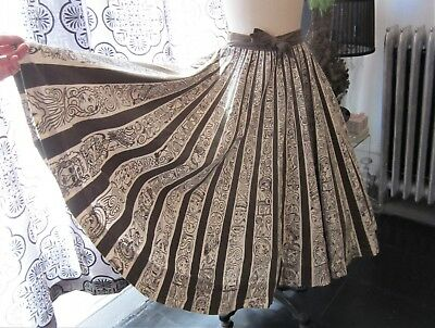 Vintage 1950's Mexican Circle Skirt with Faces (Mayan gods?)  AS IS