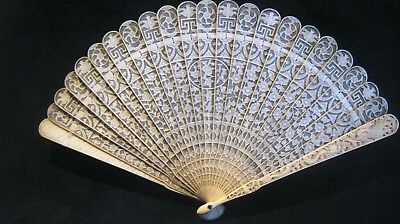 Antique Carved Chinese Canton Brise Export Fan Eventail 清朝 嘉慶帝 Qing Dynasty 19C