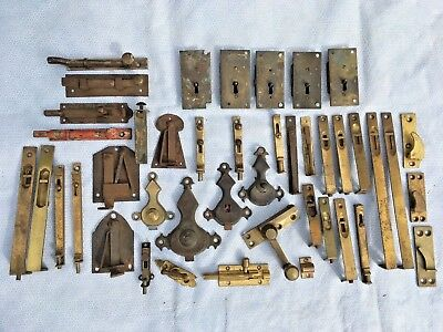Attn Restorers Job Lot 42 Antique Brass Locks Catches Latches Cabinet Door Doors