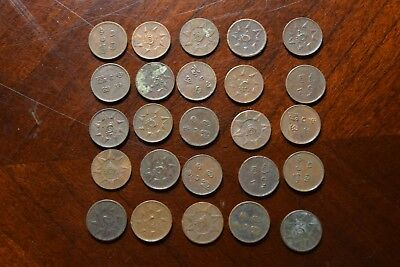 25 Old One Cash Coins From Travancore India