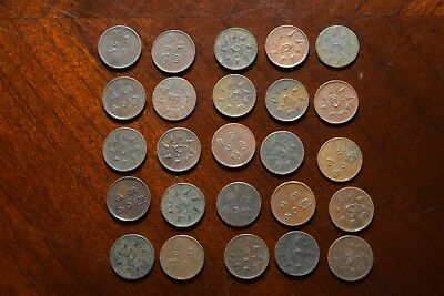 25 OLD ONE CASH COINS FROM TRAVANCORE INDIA List #2