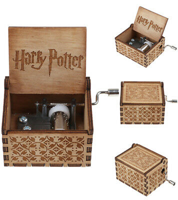 Harry Potter Engraved Wooden Hand-cranked Music Box Toys Gifts Hedwig's Theme US