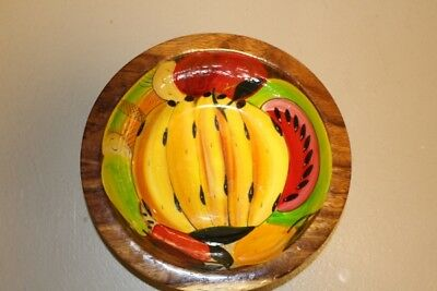 """Hand Painted Fruit Wood Bowl - Lacquered  10 3/4"""" X 3 1/2"""""""