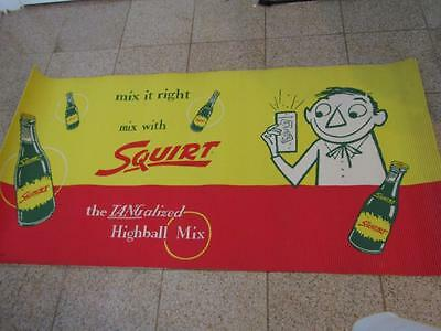 """Squirt - The Tangalized Highball Mix Corrugated Banner 60"""" x 30"""" NOS 1950's"""