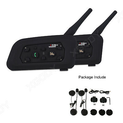 2X MOTORCYCLE BIKE Helmet Bluetooth Walkie Talkie Intercom Radio Headset  1 2KM