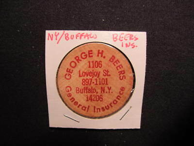 Buffalo, New York Wooden Nickel Token - George H. Beers Insurance Wooden Coin