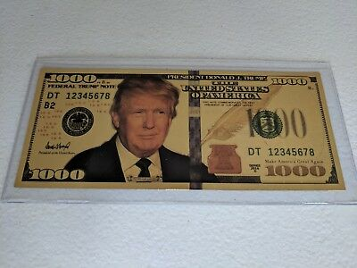 Gold President Donald Trump $1000 Dollar Bill
