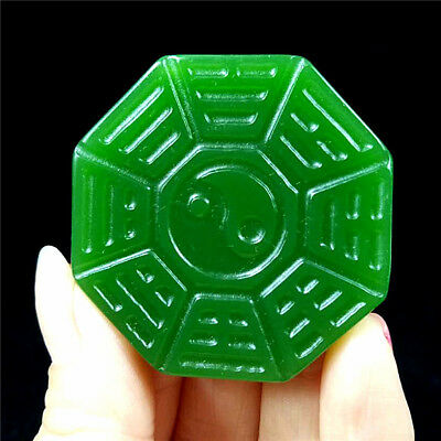 2018 new China hand-carved Green jade bagua 八卦 jade pendant Necklace Amulet