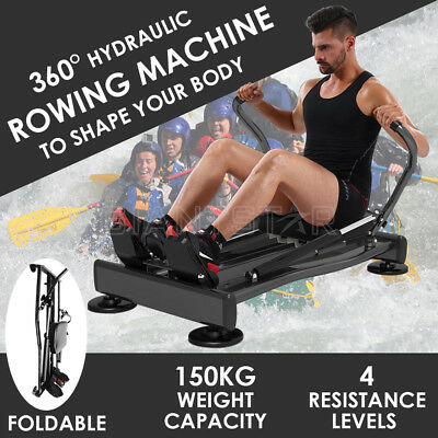 Real Hydraulic Rowing Exercise Machine Rower Resistance Fitness Gym Home Cardio