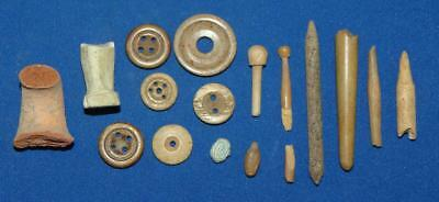 16pcs. Lot ANCIENT ROMAN Dug/Excavated ARTIFACTS - BUTTONS & MORE!!