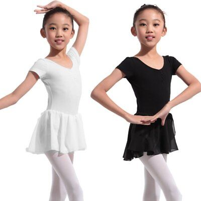 US Toddler Girls Ballet Dress Tutu Skirt Short Sleeve Leotard Dance Wear Costume