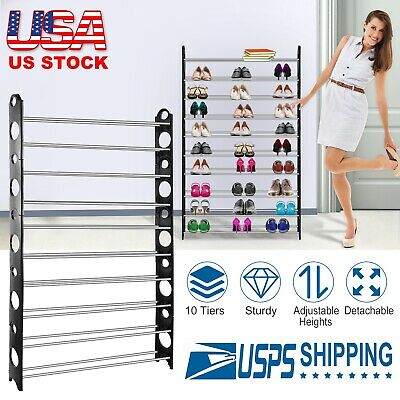 50 Pair 10 Tier Shoe Tower Rack Organizer Space Saving Shoe Rack