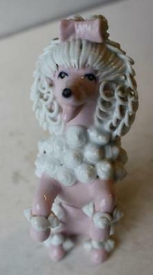 Pink Spaghetti Poodle Figure w-Sea Shells and Rope Hair-Pink Bow-Unusual RARE