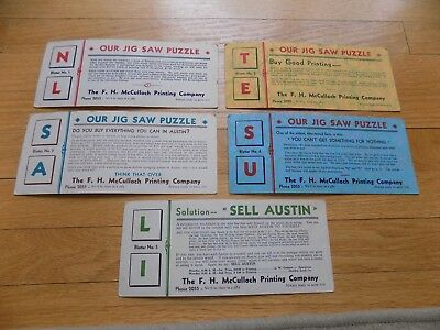 Vtg F H McCulloch Printing Co Austin Set 5 Blotters Jig Saw Puzzle GC NR
