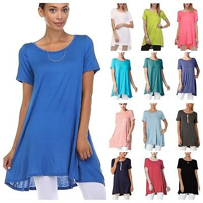 d42ad9f616363 USA Women's Short Sleeve Scoop Neck A-Line Tunic Top Loose Fit T-Shirt