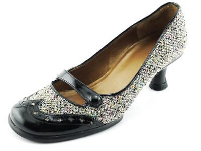 Black CHARLES JOURDAN Patent Leather & Tweed Pumps Mary Jane 6