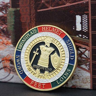 Gold Plated Put on the Whole Armor of God Commemorative Challenge Coin Token Pop