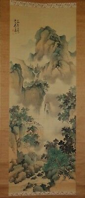 Antique Japanese watercolors on silk green landscape large painting scroll 白石山房