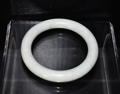 Antique Chinese genuine Qing Dy. pale green jadeite jade round bangle bracelet