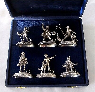 Antique 800 silver Figural Place Card holders Italy Unique 166 grams