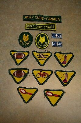 Vintage Lot Of 14 Boy Scouts Wolf Cubs Canada Patches And Merit Badges