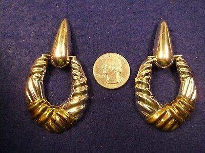 """Very Large Pair Of Mexican Sterling Silver & Brass Hoop Earrings, Signed """"Laton"""""""