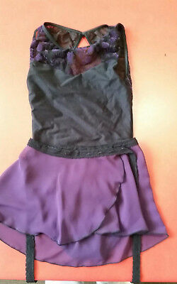 Pre owned Ladies Leotard Wear Moi Black with puple lace detail free skirt