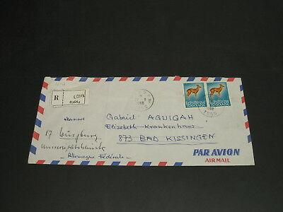 Togo 1968 Lome registered airmail cover to Germany folds *32197