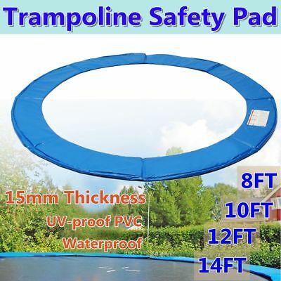 8ft/10ft/12ft/14ft Round Trampoline Spring Reinforced Safety Pad Cover Outdoor