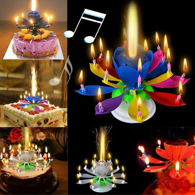 Musical Candle Lotus Flower Rotating Candles Light Happy Birthday Party Gift