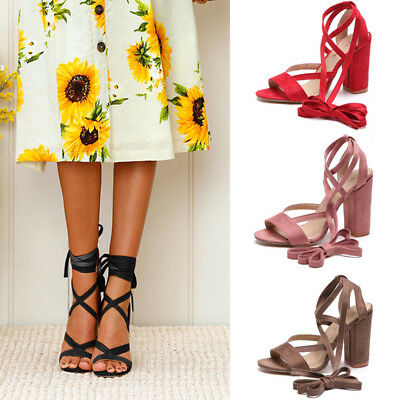 HOT Womens Block High Heel Ankle Strap Lace Up Sandals Peep Toe Party Shoes Size