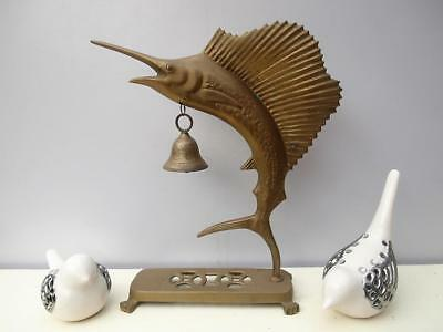 Large VINTAGE Solid BRASS Sword FISH with BELL Claw FOOT Base QZZQ Adelaide