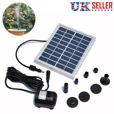 Solar Powered Fountain Garden Pond Submersible Water Pump Features 180L/H UK