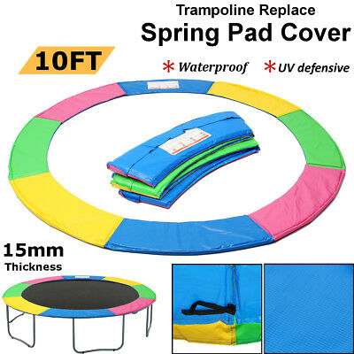 REPLACEMENT TRAMPOLINE PAD REINFORCED OUTDOOR ROUND SPRING COVER Rainbow 10FT