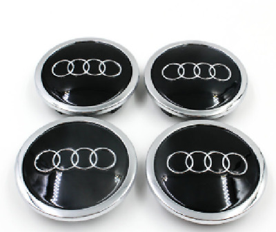 NEW 4Pcs Car Case Caps Cover Wheel Emblem Hub Center 69MM Black for AUDI