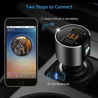 Wireless Bluetooth Car Kit FM Transmitter MP3 Music Player LED Dual USB Charger