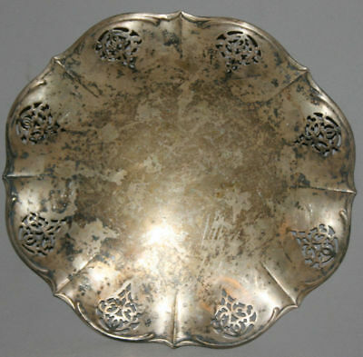 Vintage European Silver Plated Footed Platter Bowl