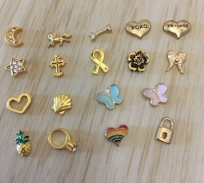 Floating Charm Living Memory Locket Necklace CHOOSE your Gold CHARM Choices NEW
